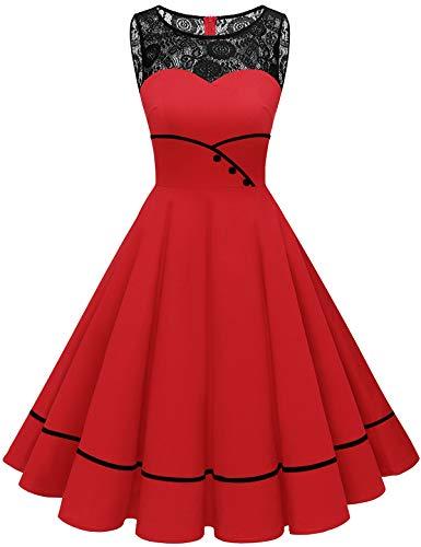 Bbonlinedress 50er Jahre Kleider weihnachtskleider Kleid Hochzeit gast Kleider für hochzeitsgäste Spitzenkleid Damen Rockabilly Kleider Damen Red L