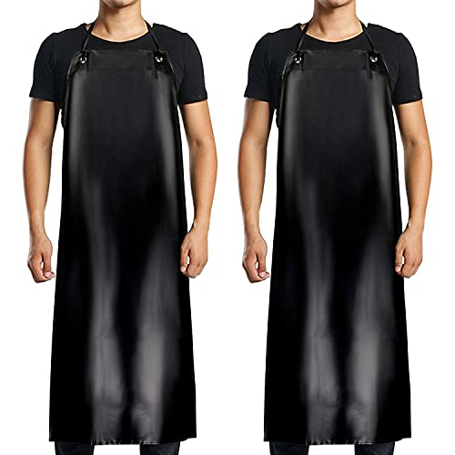 【2 Pack】 Waterproof Rubber Vinyl Apron - 40' Extra Long Black Dishwashing Apron, Heavy Duty Industrial Chemical Resistant Apron, Stay Dry for Cleaning Car, Dishwashing, Lab Work, Butcher, Dog Grooming, Cleaning Fish, Ultra Lightweight