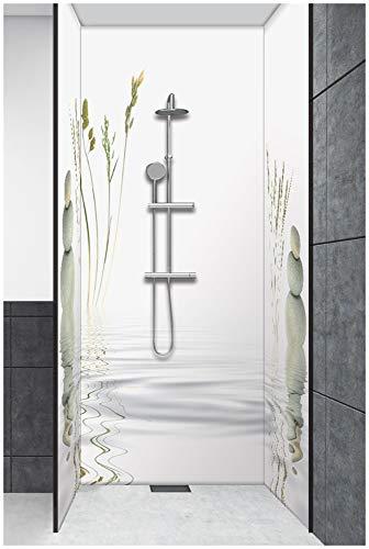 Artland Duschrückwand Eck mit Motiv Fliesenersatz Alu Rückwand Dusche Duschwand Bad 3 Segmente Wunschmaß Natur Wellness Zen Spa Steine Weiß T5VB