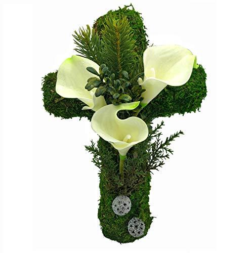 Radami Grabgesteck Grabschmuck Grabaufleger Moosherz Grabherz Kreuz oder Engel Trauerherz Grab Herz Gesteck Rosen (Kreuz-30cm-Calla-weiß)