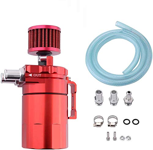 ESPEEDER SYKRSS Universal Aluminum Oil Catch Can Polish Baffled Reservoir Tank Red with Breather Filter 300ml