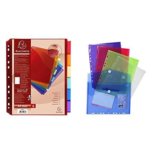 Intercalaires avec Pochette Exactive Polypropylene Haute Resistance 20/100e 5 Positions - A4 + 57380E - Bolsa de 5 fundas con multitaladros y forma de sobre, A4, multicolor
