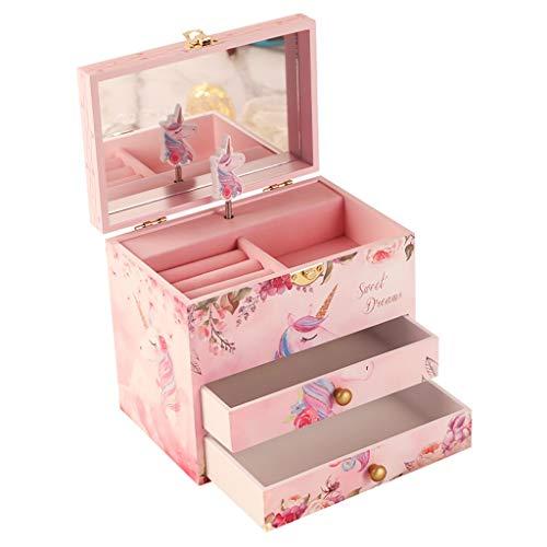 MQH Caja de música Caja de música de niña con 2 cajones de Retirada y Spinning Unicornio Joyería Musical Caja de Almacenamiento Regalos for niñas pequeñas Caja Musical