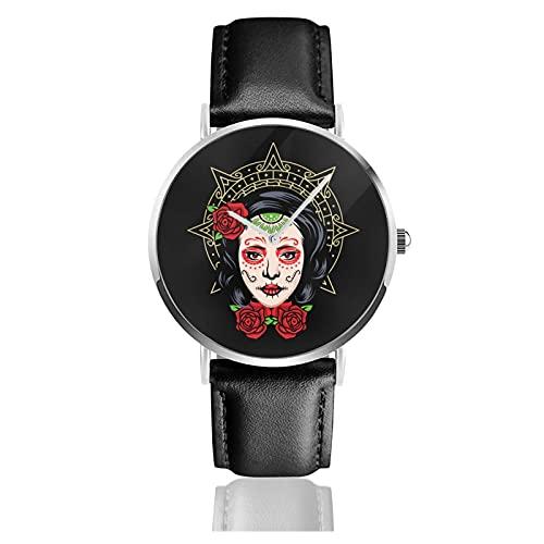 Skull Girl Relojes Reloj de Cuero de Cuarzo con Correa de Cuero Negro para Hombre, Mujer, colección Joven, Casual de Negocios