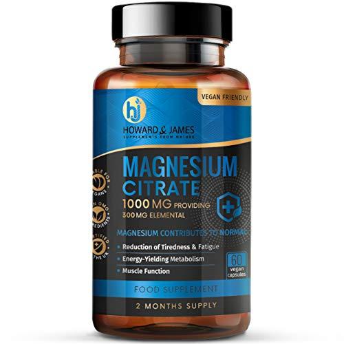Magnesium Citrate 1000mg Providing 300mg Elemental per Capsule - High Strength Vegan Capsules - GMO Free - Made in The UK by Howard & James