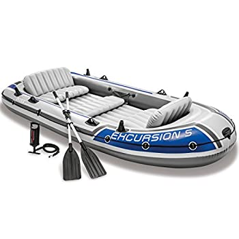 Intex 68325EP Excursion Inflatable 5 Person Heavy Duty Fishing Boat Raft Set with 2 Aluminum Oars & High Output Air-Pump for Lakes & Mild Rivers Gray