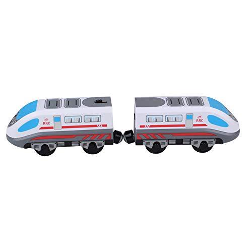 guojiwu Los niños del Tren del Juguete del Carro de Pista magnética Modelo Locomotora eléctrica de Alta Velocidad de Madera de Juguete de Regalo con Pilas para los Muchachos niños