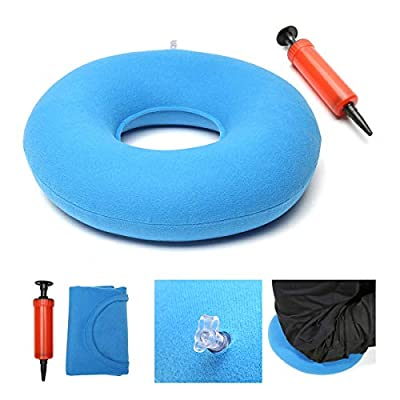 king do way Inflatable Ring Cushion, Vinyl Round Rubber Seat Cushion, Medical Hemorrhoid Pillow, Free Pump, Comfortable Medical Pillow Bed Sores, Great for Wheelchairs Blue 34 * 12 * 9cm