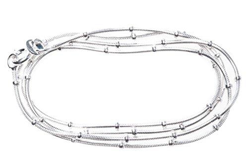 Windalf zachte dameshalsketting Kiana l: 45 cm slangenketting met bolletjes 925 sterling zilver