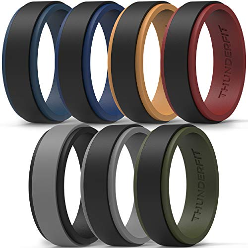 ThunderFit Silicone Wedding Rings for Men, 2 Layers Step Edge - 10mm Width - 2.3mm Thick (Black Teal, Grey Black, Black Orange, Black Grey, Black Red, Black Green, Black Blue - Size 9.5-10 (19.8mm))