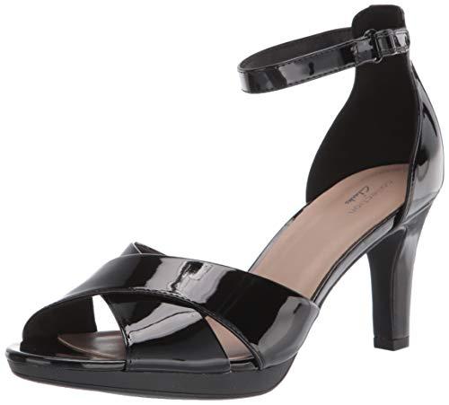 Clarks Women's Adriel Cove Heeled Sandal, Black Patent Synthetic, 80 M US