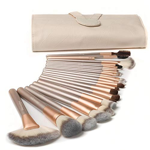 NEVSETPO Make Up Brush Set 24pcs Professional Quality Makeup Brushes for Kabuki Foundation Blending Blush Come with Travel Organizer Carry PU Bag, Solid Wood Cruelty-Free Bristle