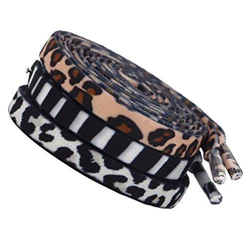 KESYOO 3 Pairs Animal Print Shoelaces Zebra Cow Leopard Shoe Tie Polyester Flat Shoelaces for Casual Canvas Sports Shoes