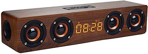 Retro de madera inalámbrico bluetooth altavoz teléfono computadora escritorio multi-función llamada de voz sonido alarma