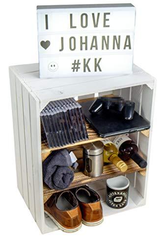 Kistenkolli Altes Land Obskistenregal Johanna weiß mit Zwei Mittelbrettern geflammt quer