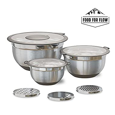 Stainless Steel Mixing Bowls with Lids (3-Piece Set) Transparent Lids | Heavy-Duty, Nested Stacking | Non-Slip Silicone Bottoms | Kitchen Ready Grater Attachments | 1.5, 3, 5 Quart