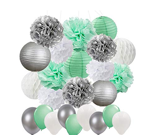 Baby Shower Decorations 45pcs Mint Green Silver White Party Decoration Kit Tissue Paper Pom Poms Paper Lanterns Paper Honeycomb Balls Balloons for Wedding Bridal Shower Birthday Party Decor