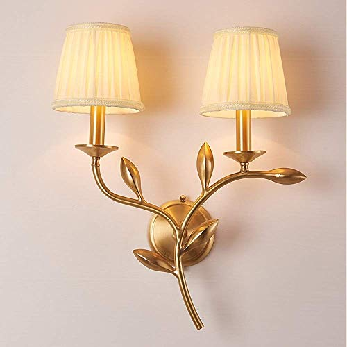 CHOUCHOU Apliques Pared Forma Completa Rama de Cobre lámpara de Pared Simple Salón Dormitorio Estudio Pasillo Cama Individual lámpara de Pared de la Cabeza del Doble lámpara de Pared de la TV