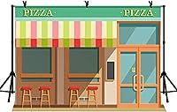 HD 10x7ft店の正面玄関の背景ピザ窓席レトロスタイル写真撮影の背景パーティー装飾写真バナー小道具LYZY1173