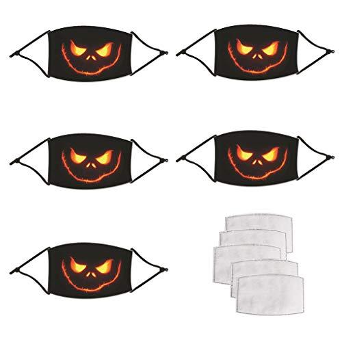 5 Stk Halloween Muster Waschbar Wiederverwendbar Unisex Luftabwehrstaub Baumwolle