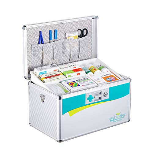 Eerste hulp doos met veiligheidsslot, Medicatie Box Organizer Emergency Medicine Opbergdoos voor Drugs Opslag, EHBO Kit - Aluminium
