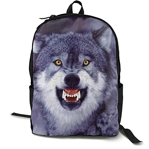 Mochila antirrobo para portátil con diseño de lobo divertido, gris