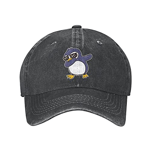 Bokueay Dabbing Penguin Dab Chapeaux de Soleil pour Femmes Hommes Vintage Lavé Casquette de Baseball Papa Chapeau Noir