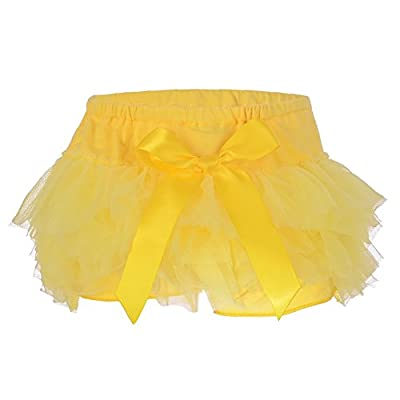 elamccor Baby Girls'Tutu Bloomers Newborn Toddler Cotton Tulle Ruffle Diaper Covers with Bow Yellow
