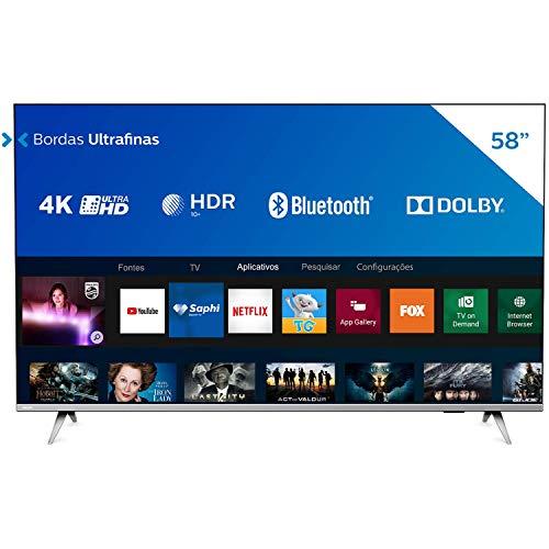 "Smart TV Philips 58"" 58PUG6654/78 4K UHD HDR10+ Dolby Vision Dolby Atmos Bluetooth WiFi 3 HDMI 2 USB - Prata Bordas ultrafinas"
