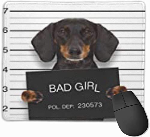 Niedliche Mausunterlage, rutschfeste Computertastatur-Mausunterlagen - schlechter Dackel-Wurst-Hund, der Polizeidienststelle als Mugshot an betrunkenem hält