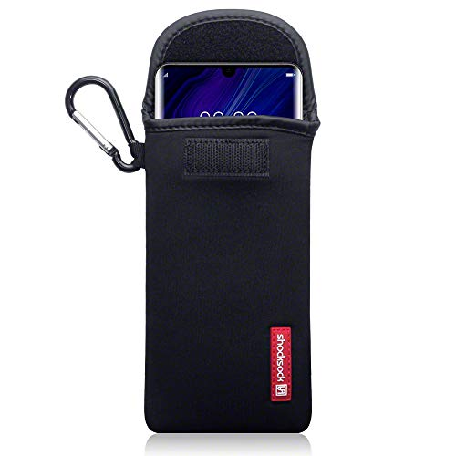 shocksock, Kompatibel mit Huawei P30 Pro Neopren Tasche mit Carabiner Hülle - Schwarz