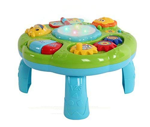 Style-Carry Learning Activity Table Baby Toys - Toddlers Educational Musical Desk Toys with Piano Pat Drum Light Up for Baby Infants (Green) (Learning Table)