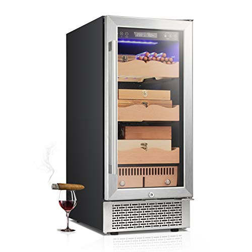 "RMYHOME 15""Touch Control Stainless Cigar Cabinet, Free Standing Electronic Cigar Cooler Humidor, 3-Layer Wooden Shelves, LCD Temperature Display, and Child Lock"