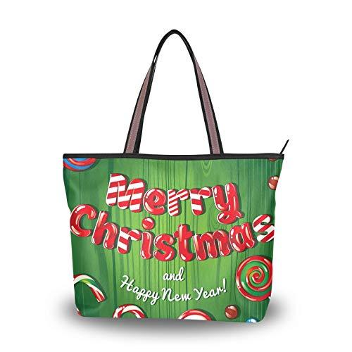 para la madre Mujeres Niñas Señoras Estudiante Feliz Navidad Feliz año nuevo Lollipop Bolsos Monedero Compras Ligero Correa Bolsos de hombro Bolsa de asas