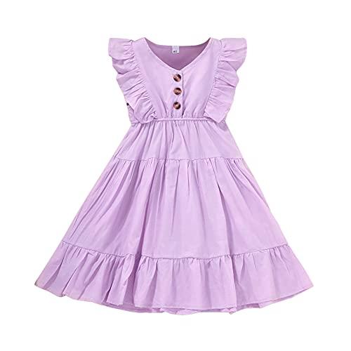 Vestido de verano para niña con volantes y botón sin mangas de una sola pieza de princesa sólida tutú