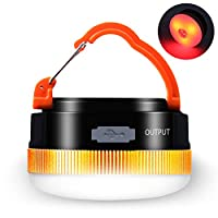 ☀ 【 LED Campinglampe mit 4 Lichtmodi 】hohe Helligkeitsmodus, mittlere Helligkeitsmodus, Rot Licht Modus, Rot Licht Strobe Modus. Die Campinglaterne lässt sich optimal an jede Situation anpassen, wie Zelte, Boote, Fahrzeugpanne, Stromausfall. ☀ 【 Leis...