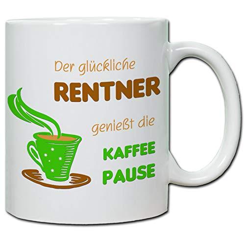 handmade-in-nb by ComProjekt Foto Tasse Mit Spruch Der Glückliche Rentner genießt die Kaffepause 300ml Weiß Hochglanz