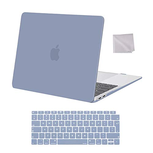 MOSISO MacBook Air 13 inch Case 2020 2019 2018 Release A2337 M1 A2179 A1932, Plastic Hard Shell Case&Keyboard Cover&Wipe Cloth Compatible with MacBook Air 13 inch with Retina Display, Lavender Gray