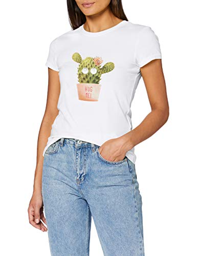 ONLY Damen ONLCATTY Life FIT S/S Box JRS Top, Bright White/Print:Cactus, S