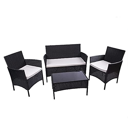 Rattan Garden Furniture Set 4 piece, Garden Dining Furniture Sets, Corner Garden Furniture Includes 1 Double Seat Garden Sofa, 1 Table and Garden Chairs Set of 2 (Black)
