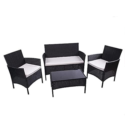 Rattan-Gartenmöbel-Set, 4-teilig, Garten-Esszimmermöbel-Sets, Eck-Gartenmöbel inklusive 1 Doppelsitz-Gartensofa, 1 Tisch und Gartenstühle, 2er-Set (schwarz)