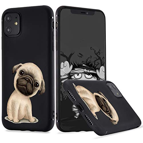LuGeKe Pug Dog Phone Case for iPhone11, Puppy Patterned Dog Design Case Cover,Soft TPU Cover Flexible Ultra Slim Anti-Stratch Bumper Protective Boys Phonecase(Pup Dog)