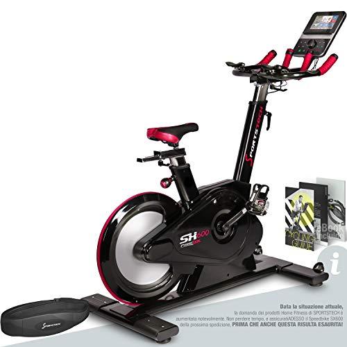 Sportstech Elite Indoor Bike Cyclette -Marchio di qualità Tedesco- Eventi Video e Multiplayer App, Frenante Magnetico Controllato dal Computer, Volano 26KG, Manubrio Sportivo SX600 con eBook
