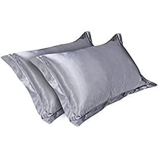 2Pcs Satin Silk Pillow Case Protectors Charmeuse Hypoallergenic Pillow Covers for Hair and skin 54*84cm (Grey)