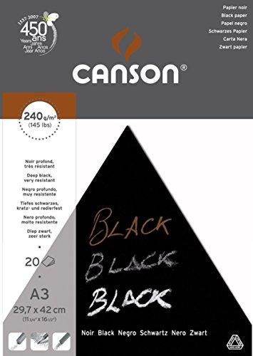 Bloc Encolado, A3, 20 Hojas, Canson Black, Grano Fino 240g Negro