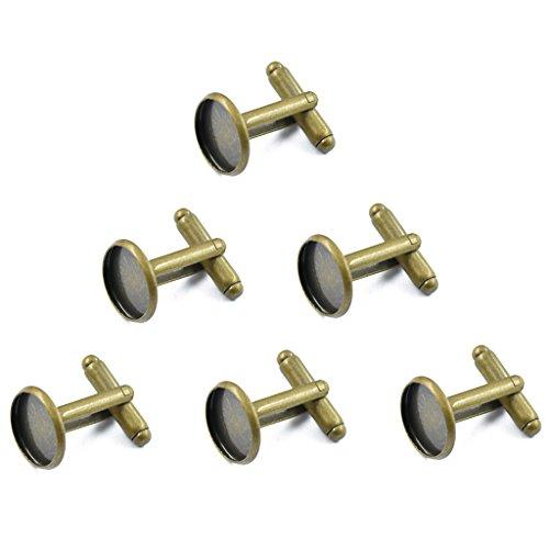 Unbekannt 6pcs Runde Manschettenknöpfe Rohlinge Für DIY Cabochon Schmuck Anqitue Bronze