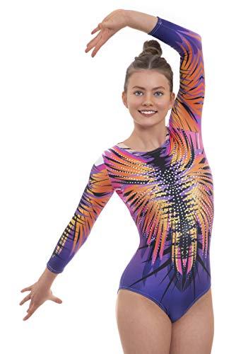 Velocity Dancewear Fireworks - Maillot de gimnasia de manga larga y corta para niñas, color Fuegos artificiales (manga larga), tamaño 13-14 Años (34)
