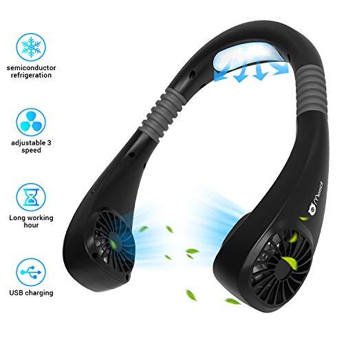 Ventilador Cuello de Manos Libres 3200mAh Ventilador Personal Portátil Mini USB Recargable Ventilador de Banda para el Cuello Ventilador de Refrigeración con Doble Cabeza de Viento