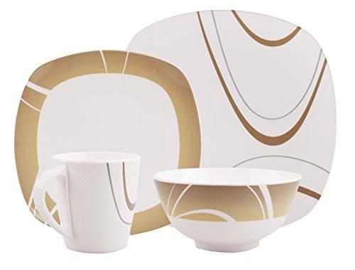 100% Melamin-Geschirr Design Cappuccino braun eckig, wählbar:Design u. Anzahl Pers. 4-tlg 1 Pers / 8-tlg 2 Pers / 16-tlg 4 Pers / 24-tlg 6 Pers, Camping Tafel Picknik Trekking Outdoor
