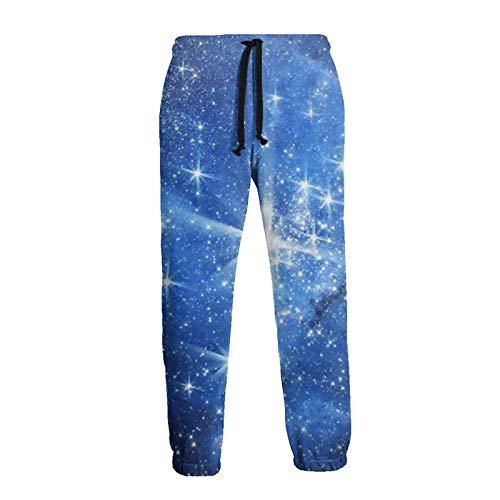 AEMAPE Pantalón de chándal Azul Deep Space Jogger para Hombre Pantalones Deportivos Casuales con cordón y Bolsillos